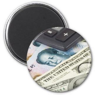 Divisas - los E.E.U.U. y pares chinos de la moneda Imán Redondo 5 Cm