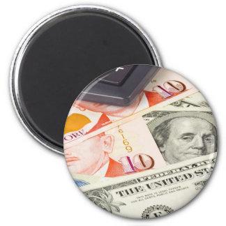 Divisas - pares de la moneda de los E.E.U.U. y de  Imán Redondo 5 Cm
