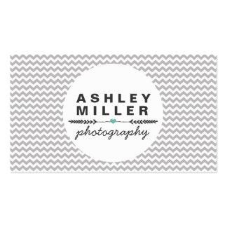 Divisores grises y blancos lindos del corazón de tarjetas de visita