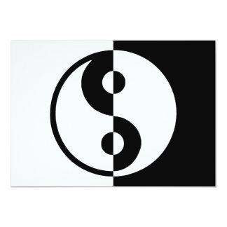 """Divisoria de la diferencia de Yin Yang blanco y Invitación 5"""" X 7"""""""