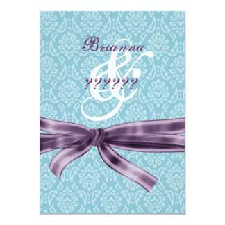 Divorce Celebration - Blue and Purple Damask Card