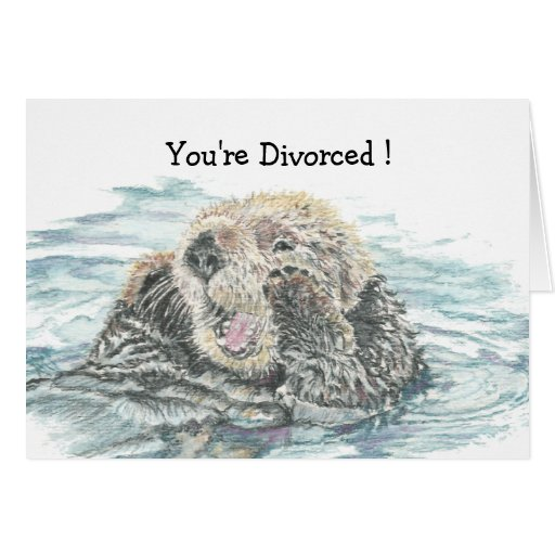 Divorce Congratulations Humour  Cute Excited Otter Greeting Card