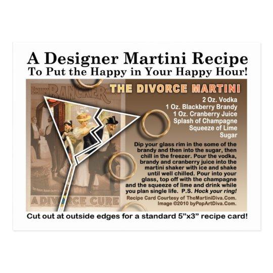 Divorce Martini Recipe Postcard