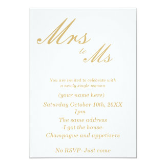 Divorce Party Invitations (white &gold)