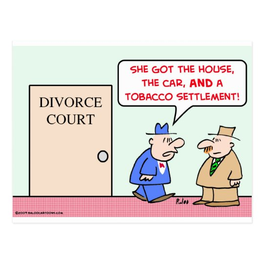 divorce tobacco settlement postcard