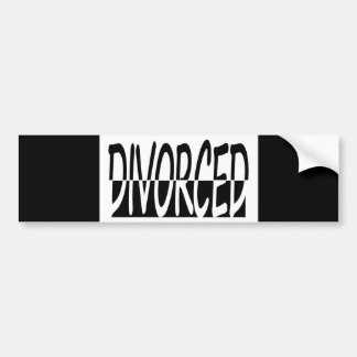Divorced Half And Half, Black And White Bumper Sticker