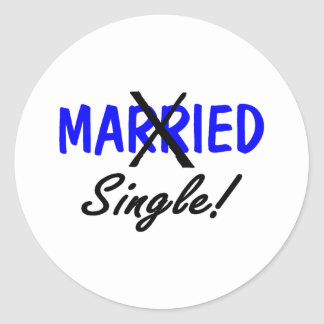 Divorced Single (Blue) Classic Round Sticker