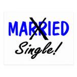 Divorced Single Blue Postcard