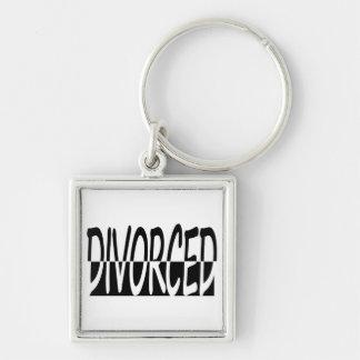 Divorciado a medias, blanco y negro llavero cuadrado plateado