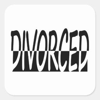 Divorciado a medias, blanco y negro pegatinas cuadradas
