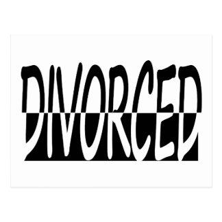 Divorciado a medias, blanco y negro postal