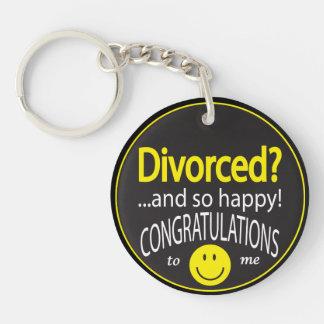 Divorciado feliz llavero redondo acrílico a doble cara