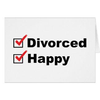 Divorciado y feliz tarjeta de felicitación