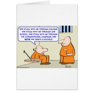 divorcio del político de la prisión tarjeta de felicitación