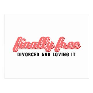 Divorcio divertido finalmente libre tarjeta postal