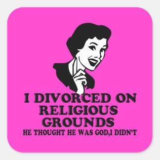 Divorcio divertido pegatina cuadrada