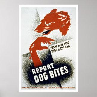 Divulgue las mordeduras de perro WPA 1941 Póster