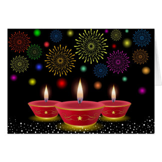 Diwali Celebrations with Glowing Lamps Fireworks Greeting Card