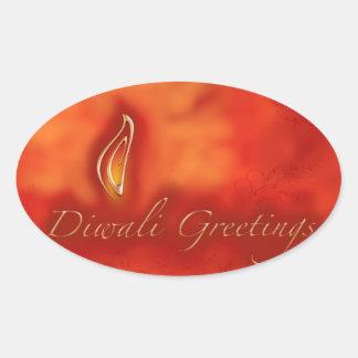 Diwali Devali Light Greetings - Warm Greeting Card Oval Sticker