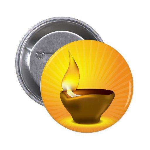 Diwali Diya - lámpara de aceite para la celebració Pin Redondo 5 Cm
