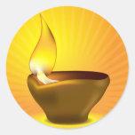 Diwali Diya - Oil lamp for dipawali celebration Round Stickers