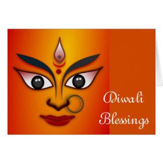 Diwali feliz con Durga Tarjeta De Felicitación