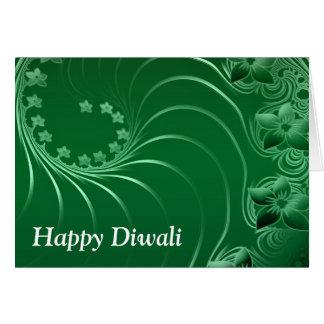 Diwali feliz con las volutas de la flor tarjeta de felicitación