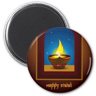 Diwali feliz imán redondo 5 cm