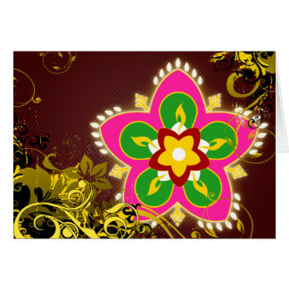 diwali feliz: rangoli de alta fidelidad tarjeta pequeña