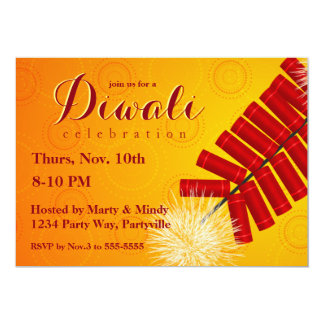 Diwali festival invitations announcements zazzle diwali firecracker invitation stopboris Choice Image