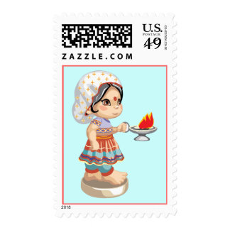 Diwali Girl Postage Stamps