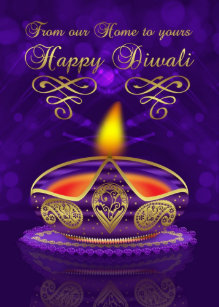 Diwali cards zazzle diwali greeting card in gold and purple with lamp m4hsunfo