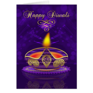 Diwali Greeting Card In Gold And Purple With Light