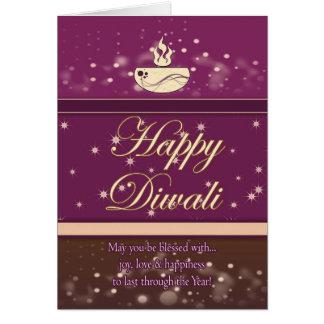 Diwali Greeting Card With Lamp - Happy Diwali