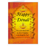Diwali Greeting Card With Lamps