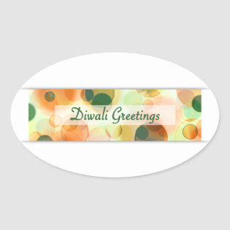diwali greetings (bokeh) oval sticker