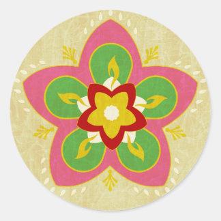 diwali greetings rangoli classic round sticker