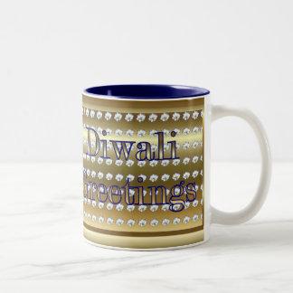 Diwali Indian Festival of Light with lotus flower Two-Tone Coffee Mug