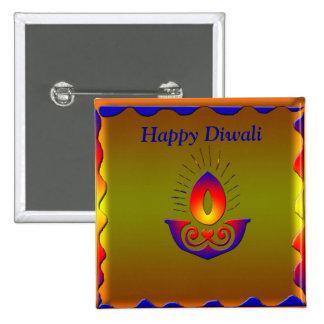 Diwali lamp 2 inch square button