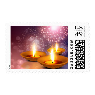Diwali Lamp oils on glowing fireworks background Postage