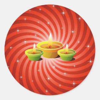 Diwali Lamps Round Sticker