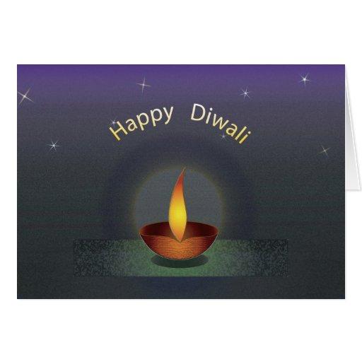 Diwali Three Text redu Greeting Card