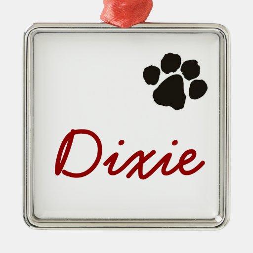 Dixie - colgante del perro adorno cuadrado plateado