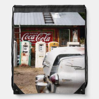 Dixon, New Mexico, United States. Vintage car Drawstring Bag