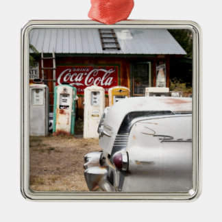 Dixon, New Mexico, United States. Vintage car Square Metal Christmas Ornament