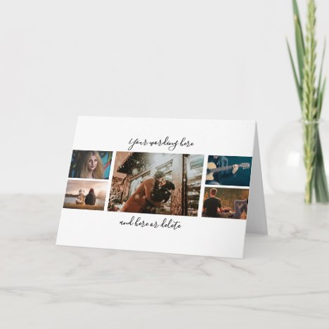 DIY 5 photo anniversary wedding collage script Card