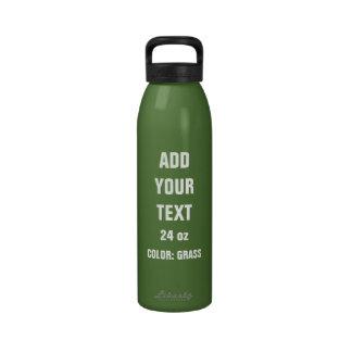 DIY Add Your Text 24 oz Water Bottle GRASS