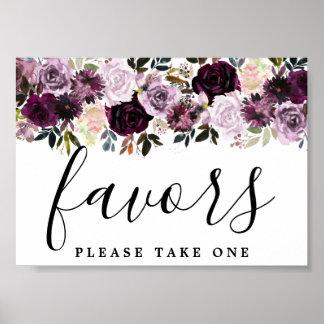 DIY Affordable Purple Pink Floral Wedding Favor Poster