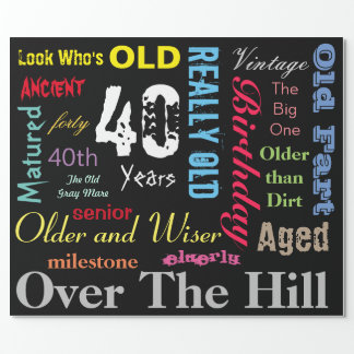 DIY Age   40th Happy Birthday   Milestone Wrapping Paper