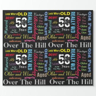 DIY Age   50th Happy Birthday   Milestone Wrapping Paper